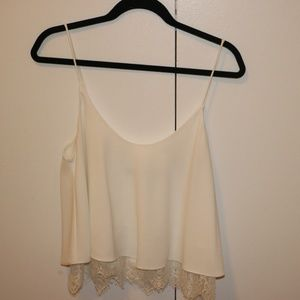 White tank with lace trim bottom